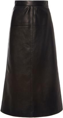 Prada Seamed Leather Midi Skirt