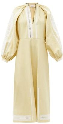 Jil Sander Embroidered Linen Dress - Beige