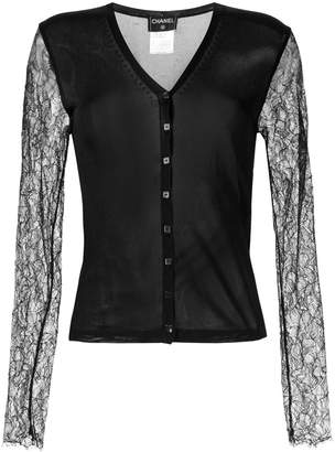 Chanel Pre-Owned lace sleeves buttoned cardigan