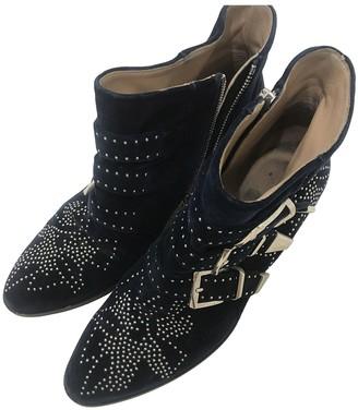 Chloé Susanna Blue Suede Ankle boots