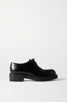 Prada 50 Glossed-leather Brogues - Black