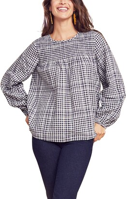 Faherty Marseilles Plaid Smocked Blouse