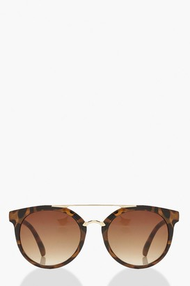 boohoo Tortoise Shell Metal Arm Aviator Sunglasses