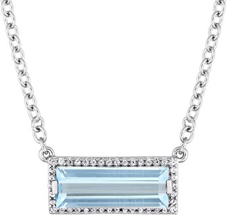 Sterling Silver 3.00 cttw Blue Topaz & White Sapphire Necklac