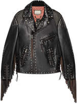 Gucci Studded leather biker jacket with fringe