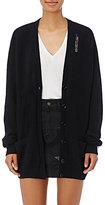 Saint Laurent Women's Embellished Oversized V-Neck Cardigan-BLACK