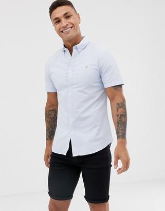 Farah Brewer slim fit short sleeve oxford shirt in sky blue