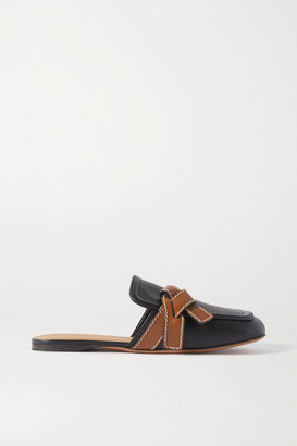 Loewe Gate Topstitched Two-tone Leather Loafers - Black