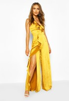 boohoo Occasion Satin Ruffle Detail Jumpsuit