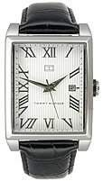 Tommy Hilfiger Black Leather White Roman Dial Women's Watch