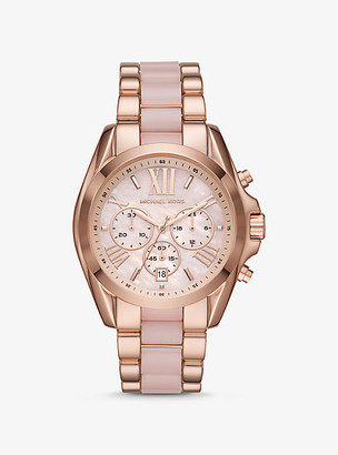 Michael Kors Oversized Bradshaw Rose Gold-Tone and Acetate Watch