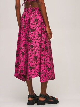 Ganni Printed Organic Cotton Poplin Midi Skirt