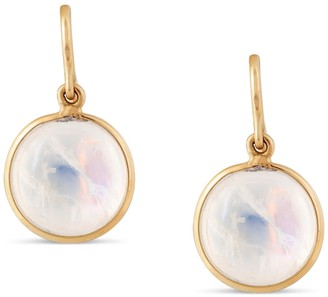 Tresor Collection Rainbow Moonstone Simple Round Dangle Earring In 18K Yellow Gold