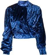 Y/Project drape detail wrap-front velour top