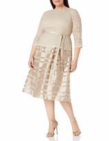 Thumbnail for your product : Alex Evenings Women's Plus-Size Tea Length A-Line Dress with Tie Belt