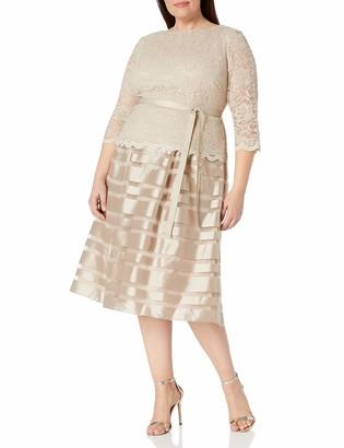 Alex Evenings Women's Plus-Size Tea Length A-Line Dress with Tie Belt