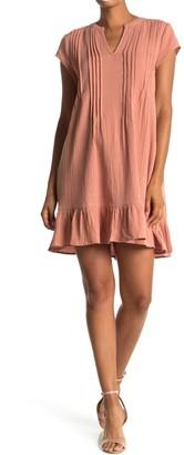 Everleigh Ruffle Hem Pleated Trim Dress