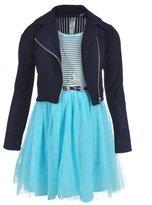 "Beautees Big Girls' ""Textured Princess"" 2-Piece Dress Set with Accessories"