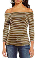 Blu Pepper Long Sleeve Off-The-Shoulder Stripe Top