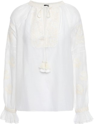 Love Sam Tassel-trimmed Embroidered Cotton-blend Mousseline Blouse