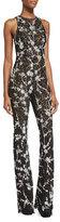 Michael Kors Floral-Lace Flare-Leg Jumpsuit, Black