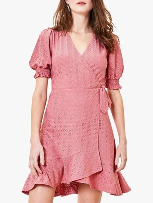 Oasis Broderie Ruffle Wrap Dress, Blush