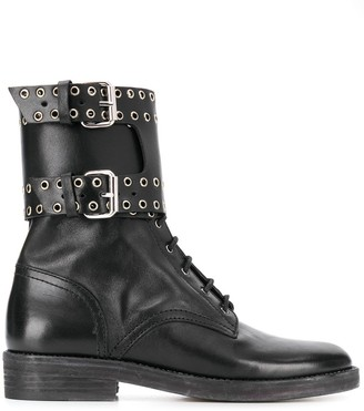 Isabel Marant Cuffed Eyelet-Detail Ankle Boots