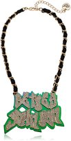 "Betsey Johnson Harlem Oil Slick Name Plate Necklace, 18"" + 3"" Extender"