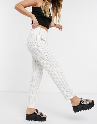 Only cigarette trousers with elasticated waist in white stripe
