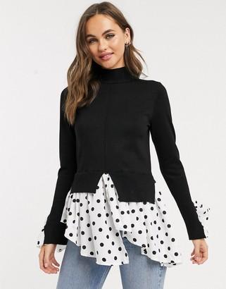 New Look spot undershirt fine knit in black
