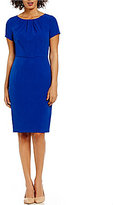 Adrianna Papell Seamed & Tucked Stretch Crepe Sheath Dress
