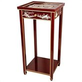 Oriental Furniture Asian 29-Inch Ming Chinese Lacquer Oriental Plant Stand with Drawer, Red with Ladies