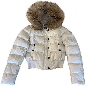 Moncler Fur Hood White Raccoon Coat for Women