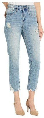 Blank NYC The Madison Crop Denim Jeans with Destructed Hem Detail in Risk Taker