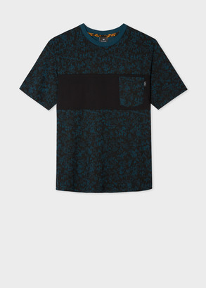 Men's Dark Teal 'Forest' Print T-Shirt With Contrast Pocket Panel
