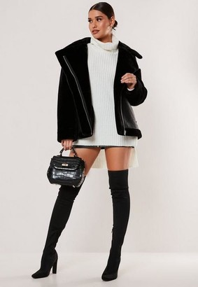 Missguided Tall Black Faux Fur Sleeve Oversized Aviator Jacket