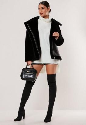 Missguided Tall Black Faux Fur Sleeve Oversized Aviator Jacket