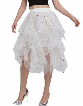 FEOYA Sequin Skirt Women Short Irregular Tutu Knee Length Glitter Tulle Skirt White Puffy 50s Bubble Underskirt Ladies Elastic Waist Petticoat for Halloween Fancy Party XL