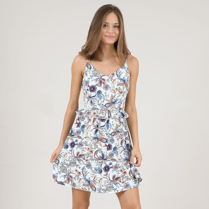 Molly Bracken Sleeveless Flared Mini Dress in Floral Print with Low Back
