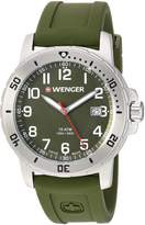 Wenger Men's 'Off Road' Swiss Quartz Stainless Steel and Silicone Casual Watch, Color:Green (Model: 01.1341.105)