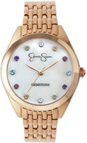 Thumbnail for your product : Jessica Simpson Women's Genuine Gemstone Rose Gold Tone Bracelet Watch 37mm