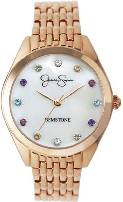 Jessica Simpson Women's Genuine Gemstone Rose Gold Tone Bracelet Watch 37mm