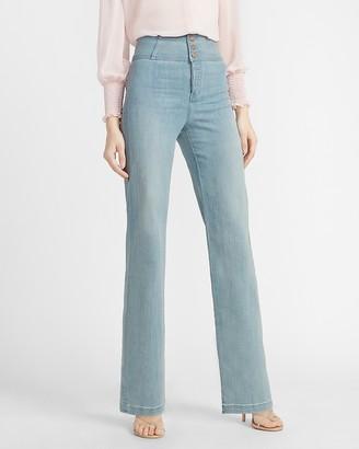 Express Super High Waisted Button Fly Wide Leg Jeans