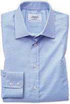 Slim Fit Large Puppytooth Sky Blue Cotton Formal Shirt Single Cuff Size 14.5/33 by Charles Tyrwhitt