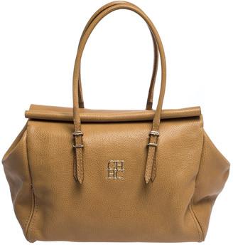 Carolina Herrera Beige Pebbled Leather Satchel
