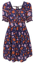 Cellabie CELLABIE Women's Casual Dresses Picture - Blue Floral Puff-Sleeve Peasant Dress - Women