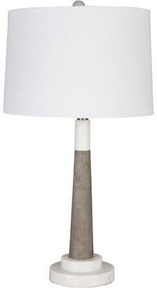 One Kings Lane Vassey Marble Table Lamp - White/Gray