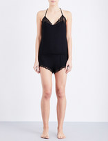 Eberjey Adeline jersey and lace playsuit