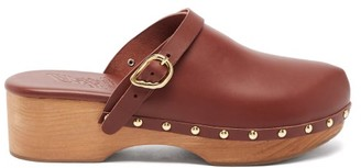 Ancient Greek Sandals Wing-buckle Leather Clog Mules - Dark Brown