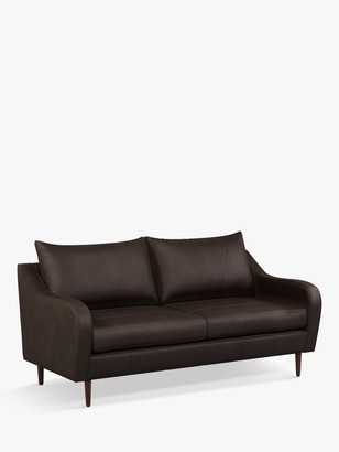 John Lewis & Partners Harp High Back Large 3 Seater Leather Sofa, Dark Leg, Demetra Charcoal